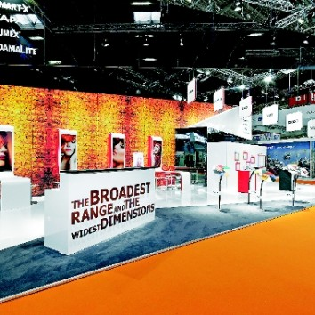 The booth design of 3A Composites can be adapted to fit any exhibition and floor space. (Photo: Bluepool)