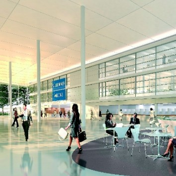 Basic solution for the conversion of Messe Essen: foyer according to current plans. (Photo: archilooks)