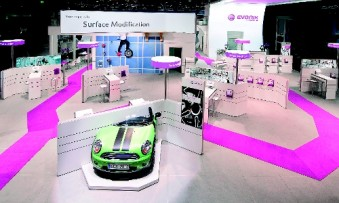 Evonik: Regardless of location or size, the stand features the uniform corporate design reflected by each product line except the Plexiglas brand. (Photo: Unicblue)