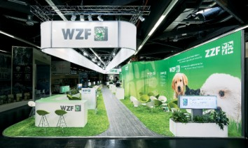 ZZF and WZF at Interzoo 2018 in Nuremberg: The dominating colours were green and white, while the graphics and visuals featured animal and nature motifs. (Photo: Wörnlein)