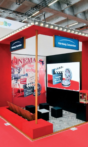 IMEX 2019: Messebau Wörnlein created a retro-look cinema hall for NürnbergConvention on a very small scale. (Photo: Wörnlein)